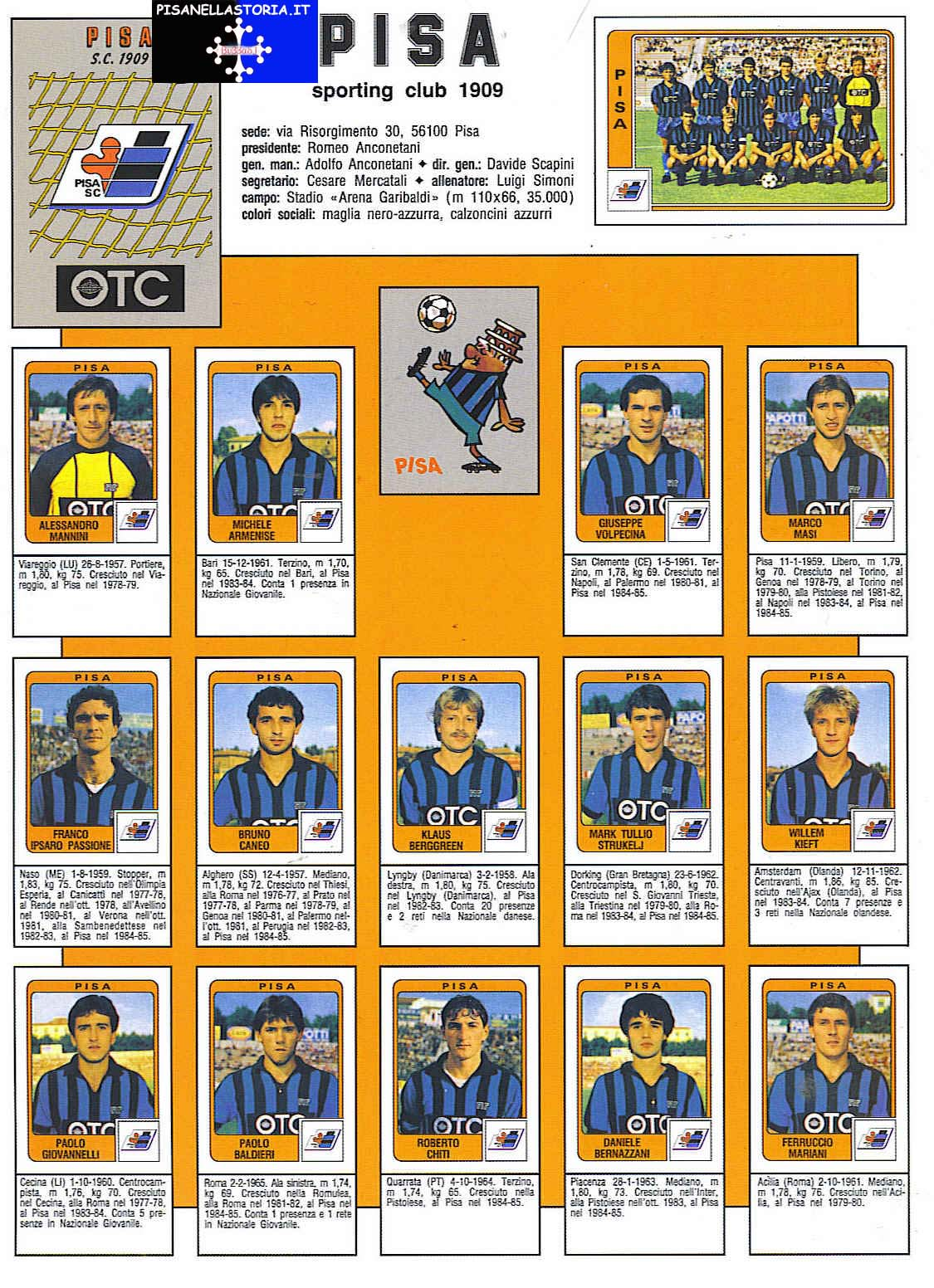 1984 85 serie b for Serie a table 1984 85